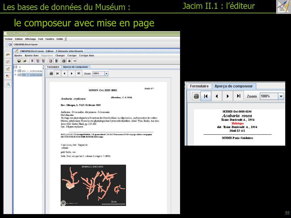 Les bases de données du Muséum : Jacim II.1 : l'éditeur le composeur avec mise en page 55