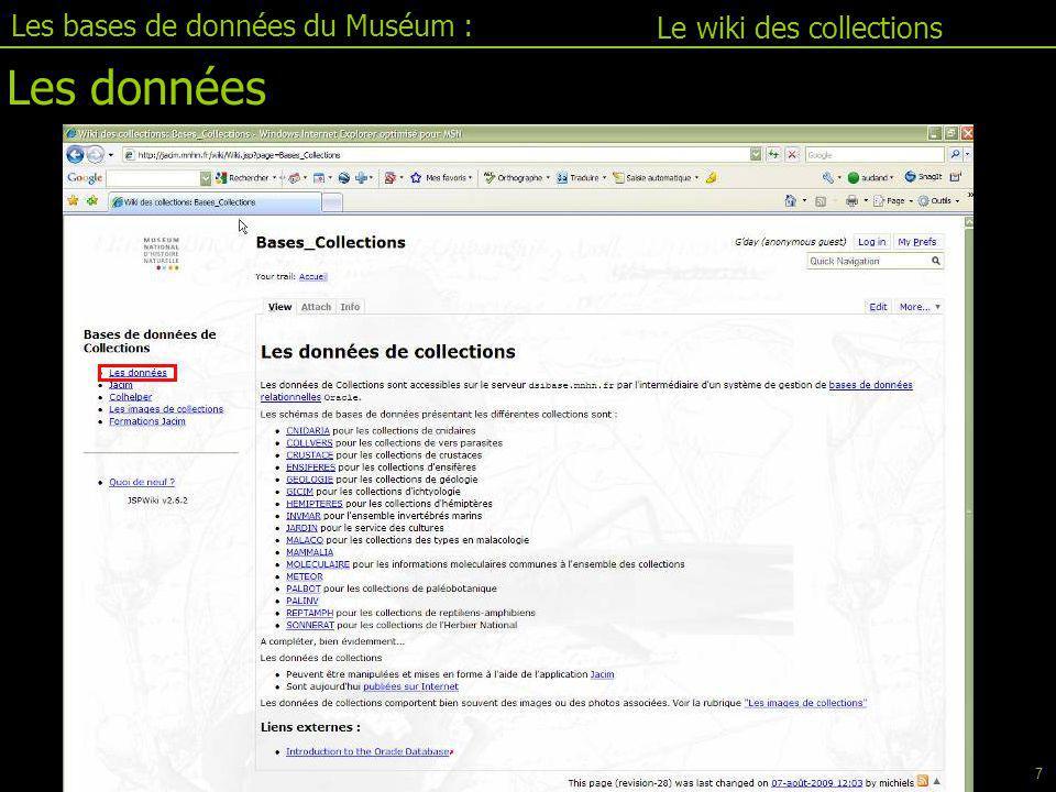 Jacim II.1 Les bases de données du Muséum : Pour la connexion, saisir : -Le nom d'utilisateur - le mot de passe Administrateur Utilisateur lambda Consultations uniquement Base test des Crustacés Nom utilisateur : CRUSTATEST Mot de passe : 26novembre Connexion 18