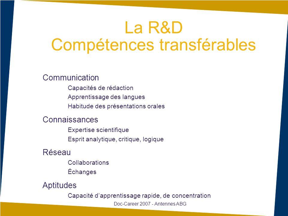 La R&D Compétences transférables Communication Capacités de rédaction Apprentissage des langues Habitude des présentations orales Connaissances Expert