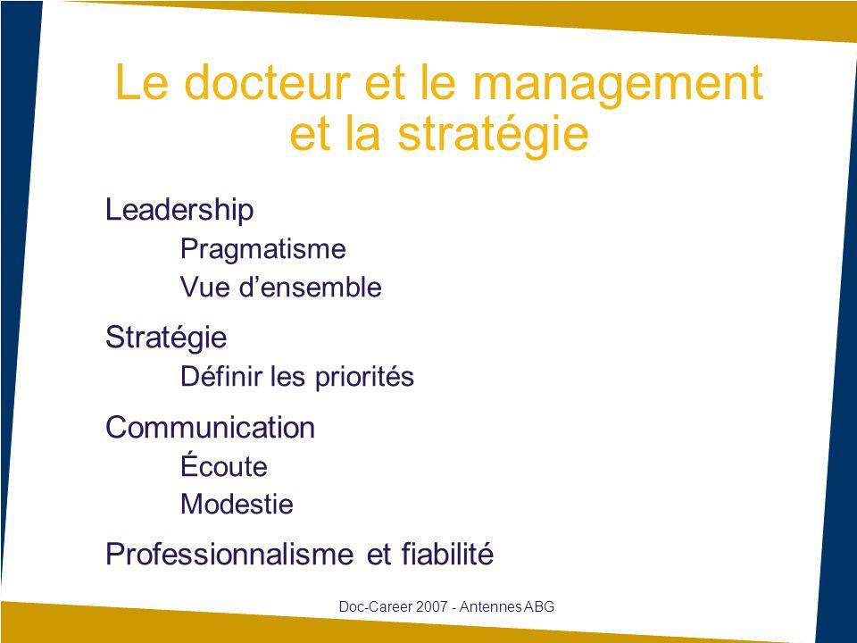 Leadership Pragmatisme Vue d'ensemble Stratégie Définir les priorités Communication Écoute Modestie Professionnalisme et fiabilité Doc-Career 2007 - Antennes ABG Le docteur et le management et la stratégie