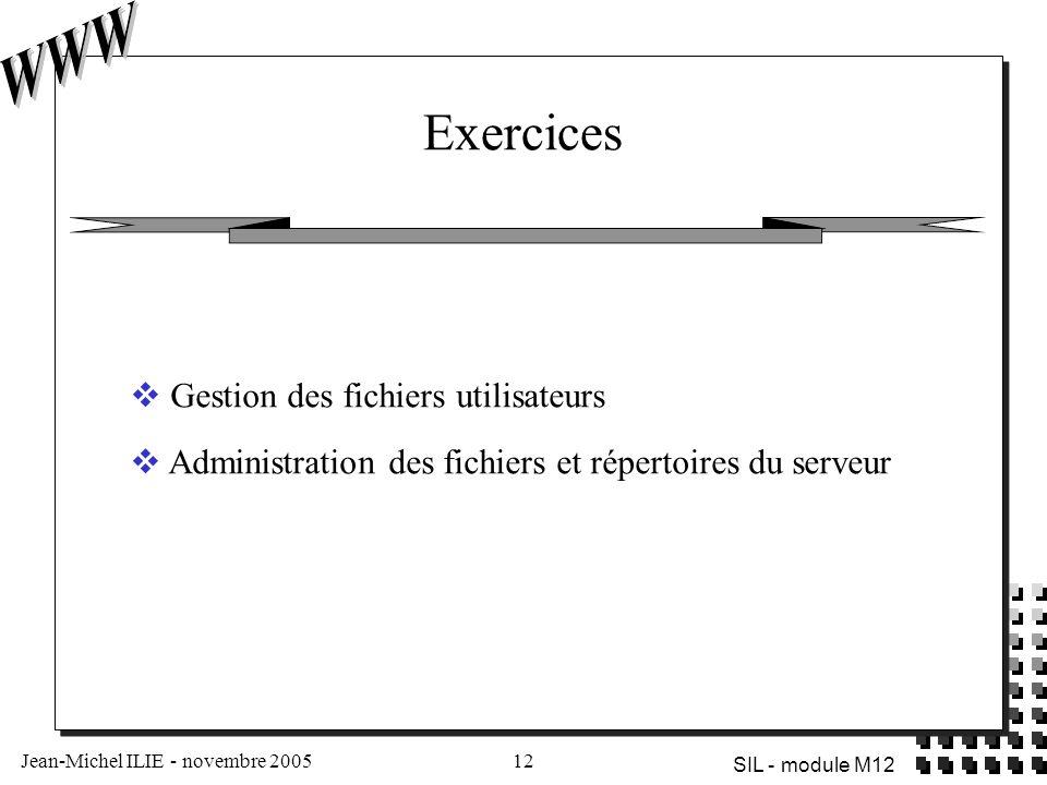 Jean-Michel ILIE - novembre 200512 SIL - module M12 Exercices  Gestion des fichiers utilisateurs  Administration des fichiers et répertoires du serveur