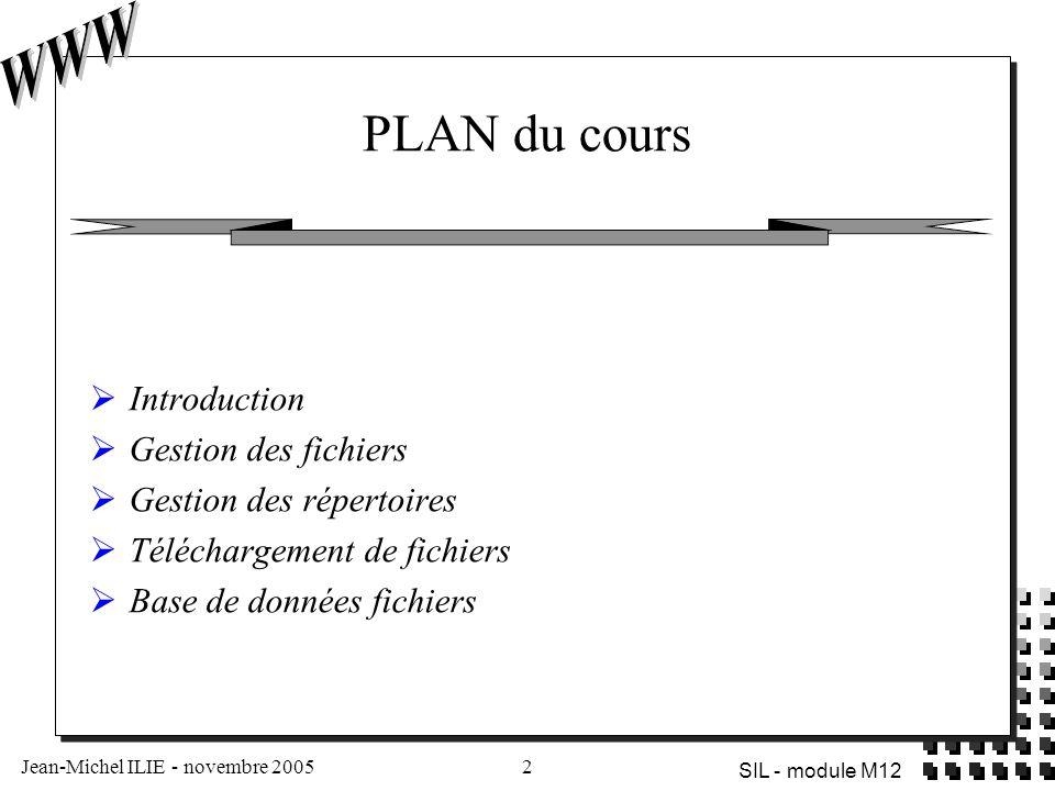 Jean-Michel ILIE - novembre 20053 SIL - module M12 Intérêts des traitements fichiers côtés serveur  Installation de site automatisée  fichiers  système de répertoires  gestion de la sécurité  Partage de fichiers - téléchargement (upload)  Administration du site à distance