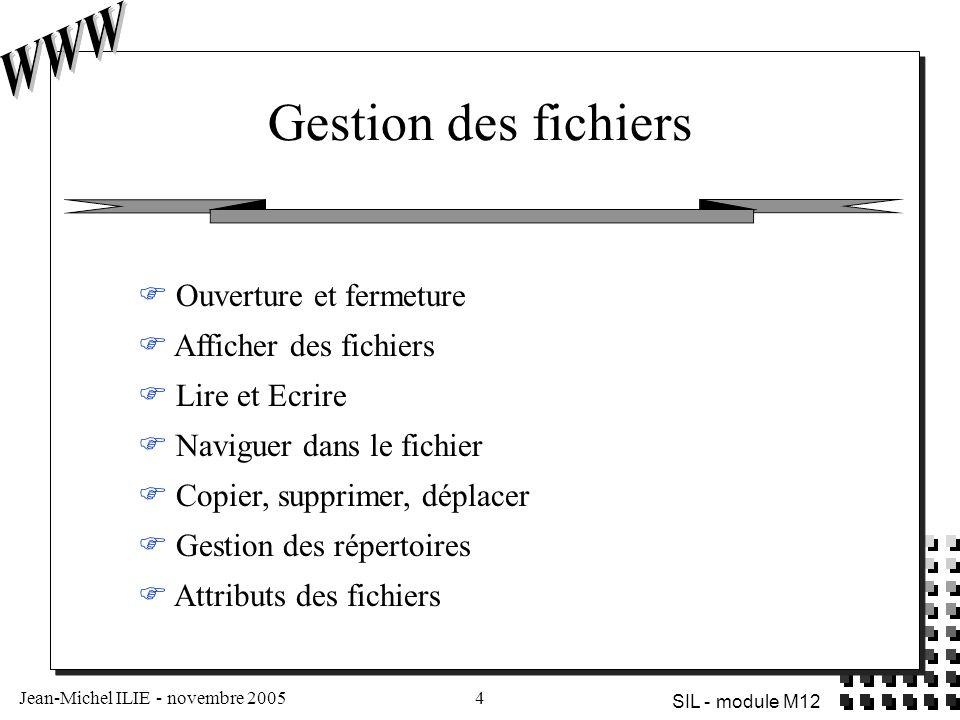 Jean-Michel ILIE - novembre 20054 SIL - module M12 Gestion des fichiers  Ouverture et fermeture  Afficher des fichiers  Lire et Ecrire  Naviguer dans le fichier  Copier, supprimer, déplacer  Gestion des répertoires  Attributs des fichiers