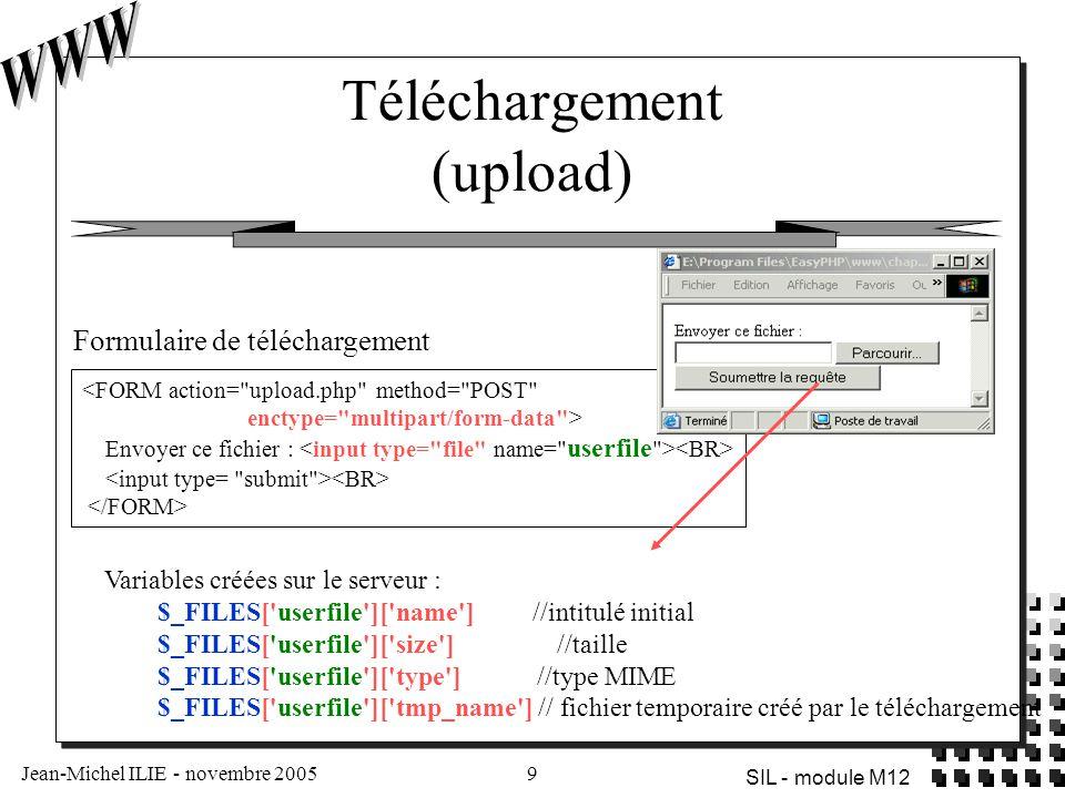 Jean-Michel ILIE - novembre 200510 SIL - module M12 Fichier soumis : Nom : Nom temporaire : Taille : Type : <?$dest= .\\upload.txt ; //!!!Barres obliques inverses //!!.