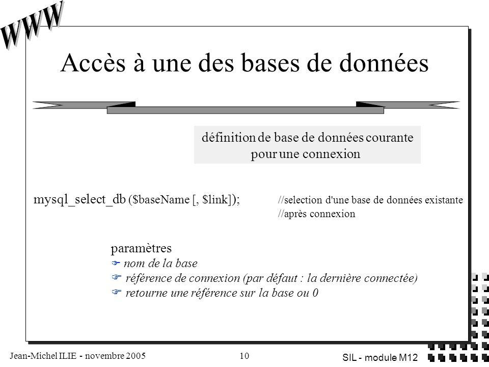 Jean-Michel ILIE - novembre 200510 SIL - module M12 Accès à une des bases de données paramètres  nom de la base  référence de connexion (par défaut