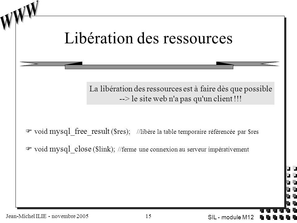 Jean-Michel ILIE - novembre 200515 SIL - module M12 Libération des ressources  void mysql_free_result ($res); //libère la table temporaire référencée