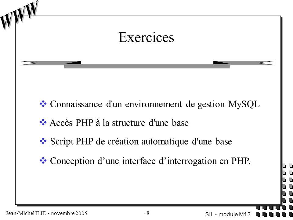 Jean-Michel ILIE - novembre 200518 SIL - module M12 Exercices  Connaissance d'un environnement de gestion MySQL  Accès PHP à la structure d'une base