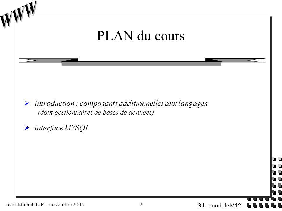 Jean-Michel ILIE - novembre 20052 SIL - module M12 PLAN du cours  Introduction : composants additionnelles aux langages (dont gestionnaires de bases