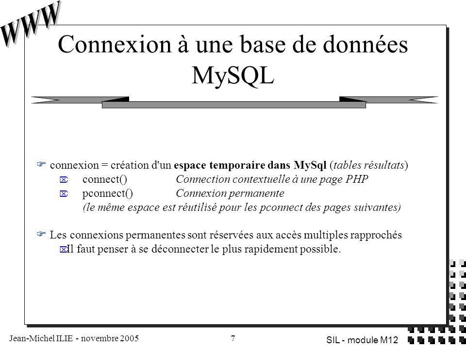 Jean-Michel ILIE - novembre 20057 SIL - module M12 Connexion à une base de données MySQL  connexion = création d'un espace temporaire dans MySql (tab
