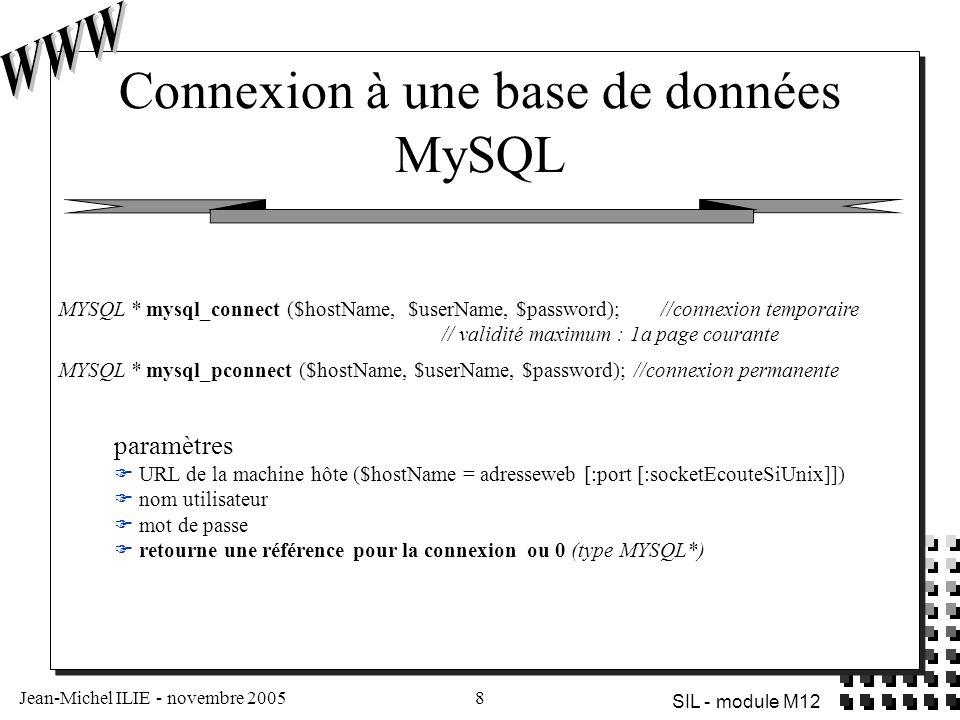 Jean-Michel ILIE - novembre 20058 SIL - module M12 Connexion à une base de données MySQL paramètres  URL de la machine hôte ($hostName = adresseweb [