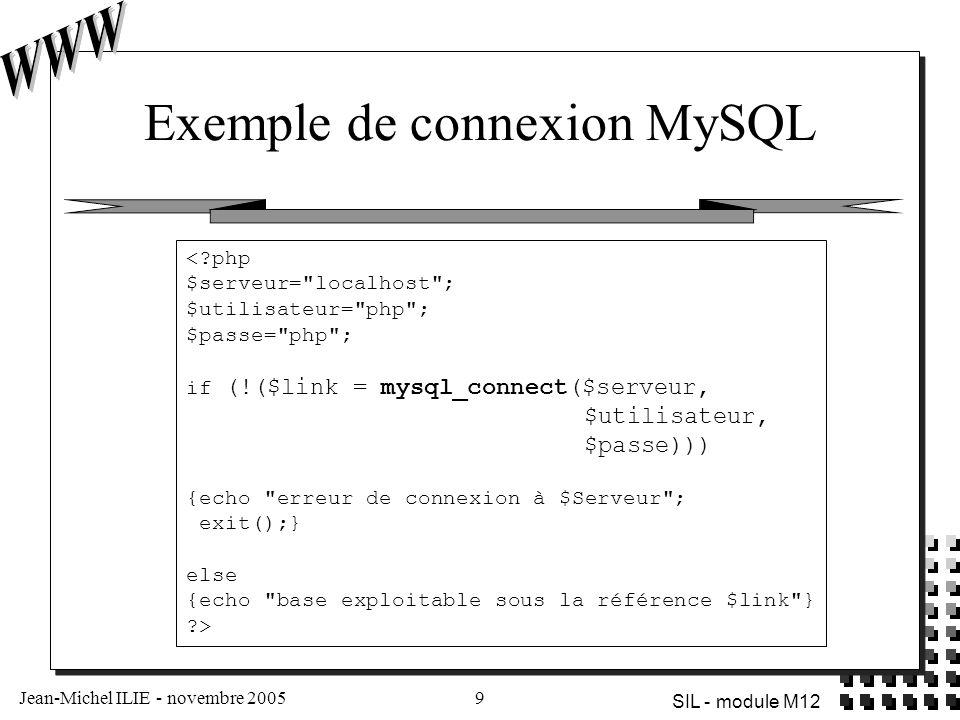 Jean-Michel ILIE - novembre 20059 SIL - module M12 Exemple de connexion MySQL <?php $serveur=
