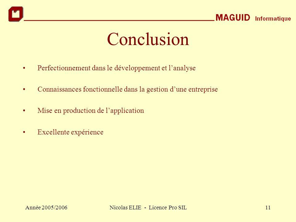 Année 2005/2006Nicolas ELIE - Licence Pro SIL11 Conclusion Perfectionnement dans le développement et l'analyse Connaissances fonctionnelle dans la ges