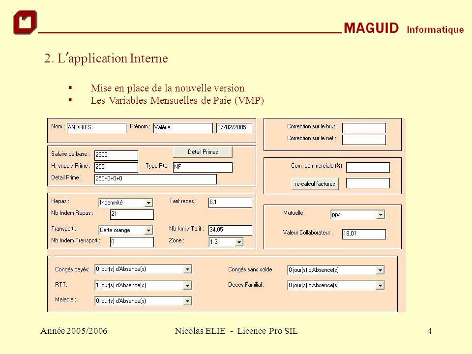Année 2005/2006Nicolas ELIE - Licence Pro SIL4 2. L ' application Interne  Mise en place de la nouvelle version  Les Variables Mensuelles de Paie (V