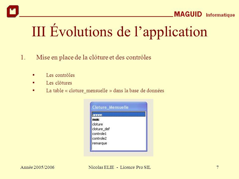 Année 2005/2006Nicolas ELIE - Licence Pro SIL8 III.1 Mise en place de la clôture et des contrôles (suite) Modification du formulaire « VMP » Création du formulaire « Infos Contrôles »