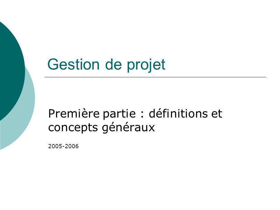 Gestion de projet Première partie : définitions et concepts généraux 2005-2006