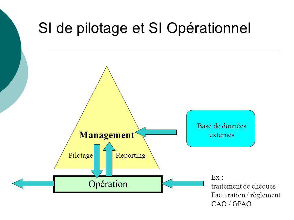 SI de pilotage et SI Opérationnel Opération Management Ex : traitement de chèques Facturation / règlement CAO / GPAO Reporting Base de données externe