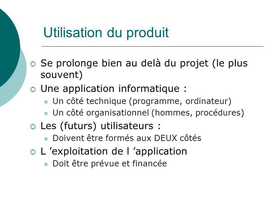 Utilisation du produit  Se prolonge bien au delà du projet (le plus souvent)  Une application informatique : Un côté technique (programme, ordinateu