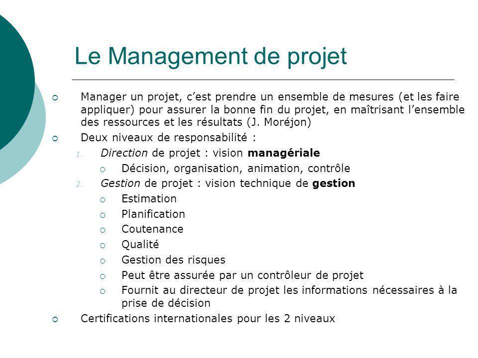 Le Management de projet  Manager un projet, c'est prendre un ensemble de mesures (et les faire appliquer) pour assurer la bonne fin du projet, en maî
