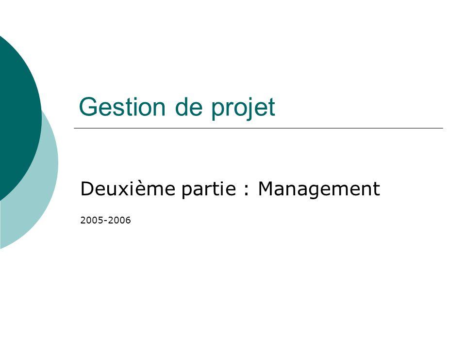 Gestion de projet Deuxième partie : Management 2005-2006