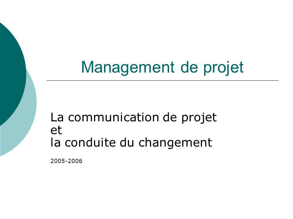 Management de projet La communication de projet et la conduite du changement 2005-2006