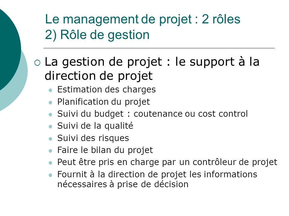 Le management de projet : 2 rôles 2) Rôle de gestion  La gestion de projet : le support à la direction de projet Estimation des charges Planification