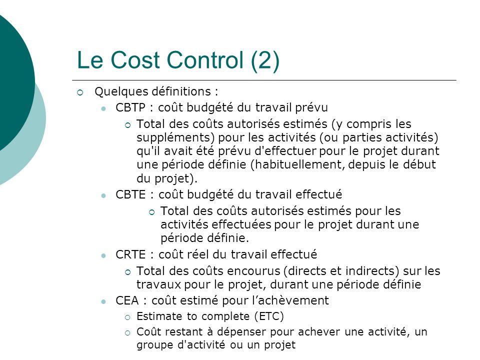 Le Cost Control (2)  Quelques définitions : CBTP : coût budgété du travail prévu  Total des coûts autorisés estimés (y compris les suppléments) pour
