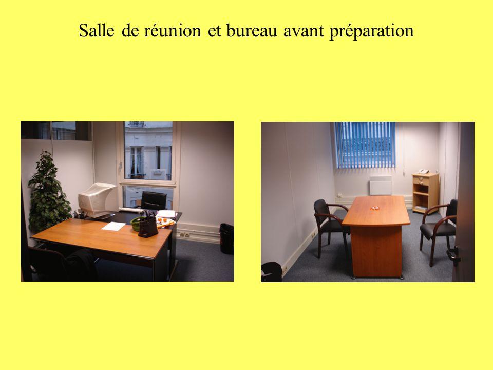 Salle de réunion et bureau avant préparation