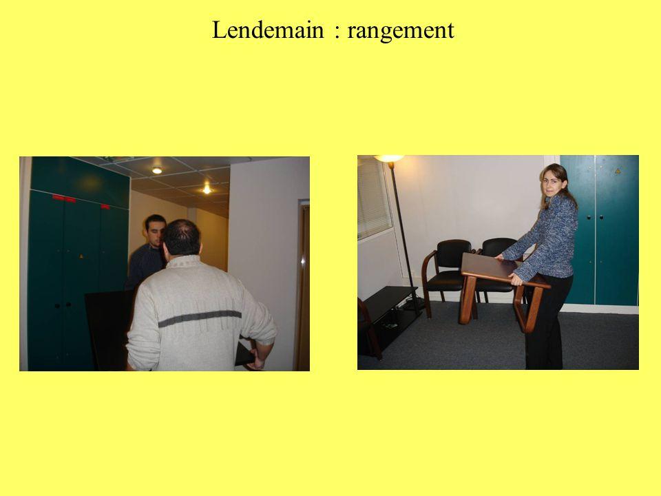 Lendemain : rangement