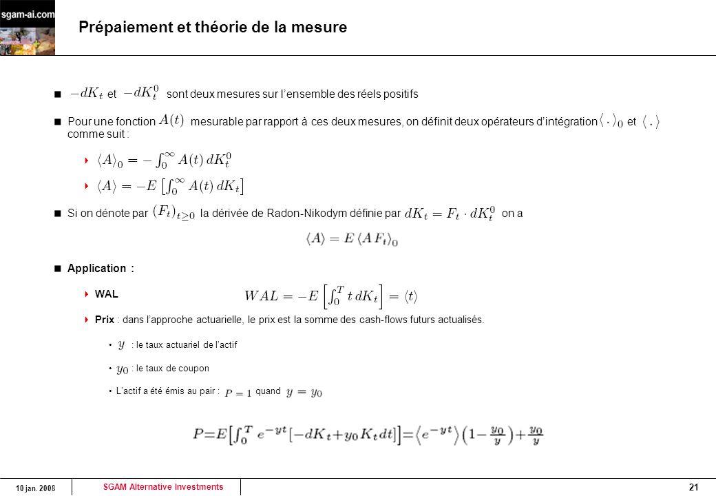 SGAM Alternative Investments 10 jan. 2008 21 Prépaiement et théorie de la mesure et sont deux mesures sur l'ensemble des réels positifs Pour une fonct