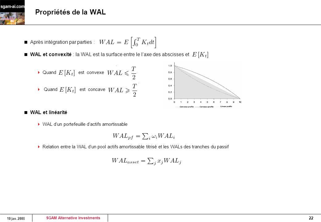 SGAM Alternative Investments 10 jan. 2008 22 Propriétés de la WAL Après intégration par parties : WAL et convexité : la WAL est la surface entre le l'