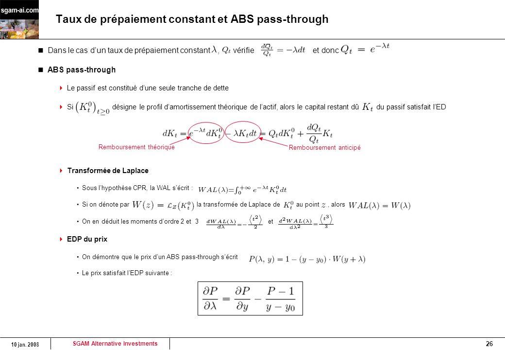 SGAM Alternative Investments 10 jan. 2008 26 Taux de prépaiement constant et ABS pass-through Dans le cas d'un taux de prépaiement constant, vérifie e