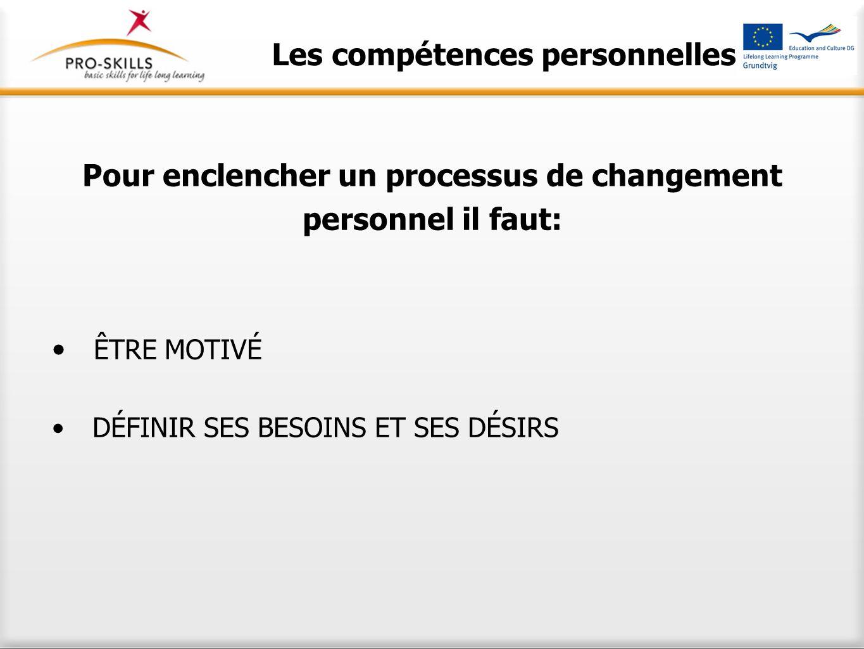 Les compétences personnelles Pour enclencher un processus de changement personnel il faut: ÊTRE MOTIVÉ DÉFINIR SES BESOINS ET SES DÉSIRS