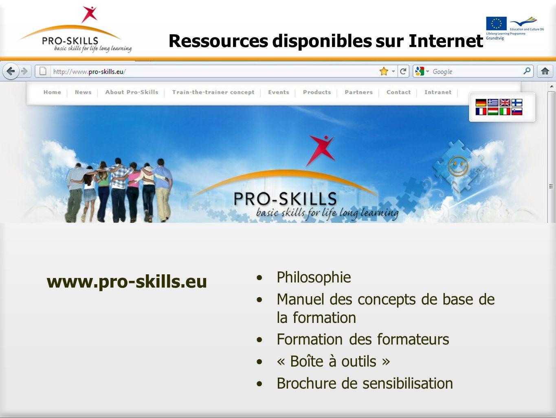 Ressources disponibles sur Internet Philosophie Manuel des concepts de base de la formation Formation des formateurs « Boîte à outils » Brochure de se
