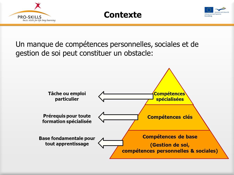 Contexte Un manque de compétences personnelles, sociales et de gestion de soi peut constituer un obstacle: Compétences spécialisées Compétences clés C