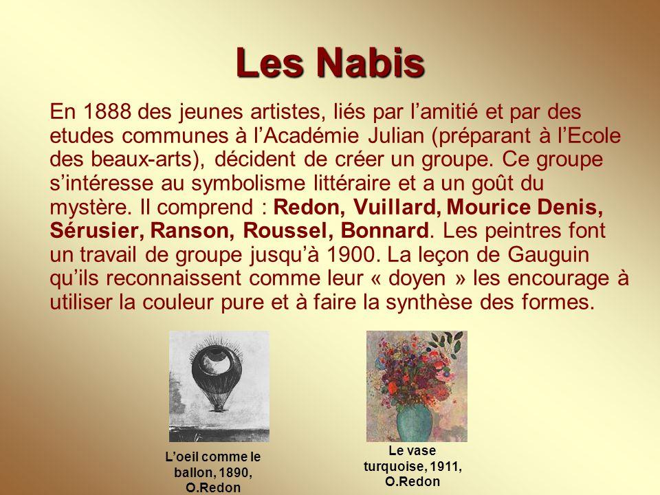 Les Nabis En 1888 des jeunes artistes, liés par l'amitié et par des etudes communes à l'Académie Julian (préparant à l'Ecole des beaux-arts), décident