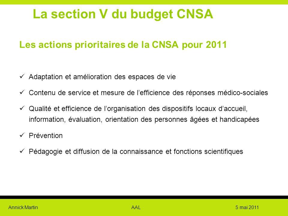 Annick Martin AAL 5 mai 2011 La section V du budget CNSA Les actions prioritaires de la CNSA pour 2011 Adaptation et amélioration des espaces de vie C
