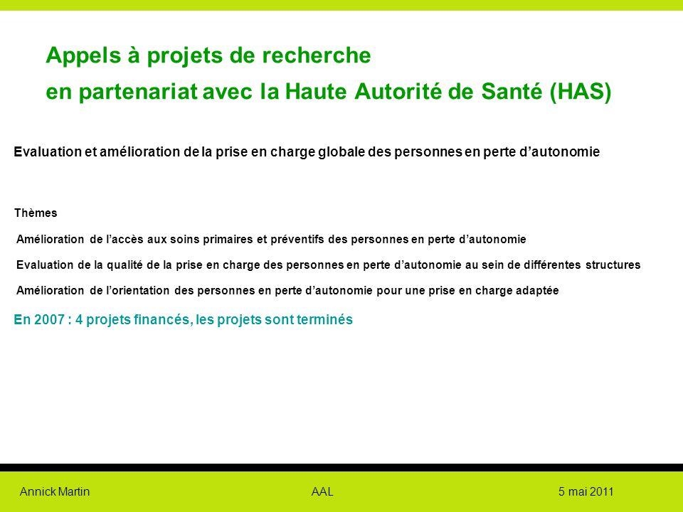 Annick Martin AAL 5 mai 2011 Appels à projets de recherche en partenariat avec la Haute Autorité de Santé (HAS) Evaluation et amélioration de la prise