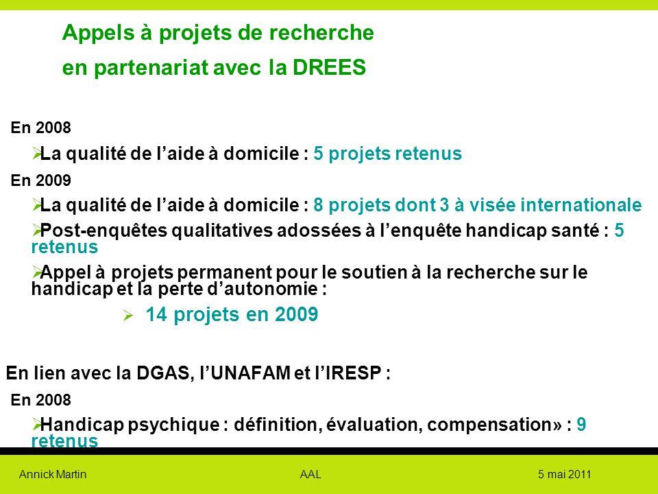 Annick Martin AAL 5 mai 2011 Appels à projets de recherche en partenariat avec la DREES En 2008  La qualité de l'aide à domicile : 5 projets retenus