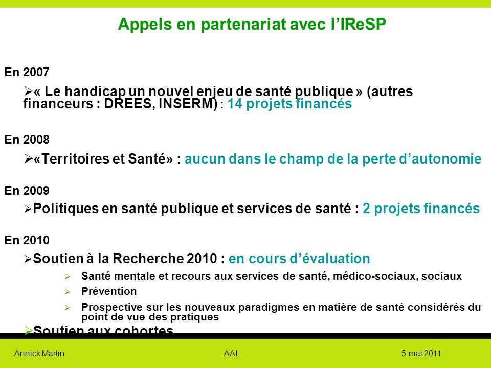 Annick Martin AAL 5 mai 2011 Appels en partenariat avec l'IReSP En 2007  « Le handicap un nouvel enjeu de santé publique » (autres financeurs : DREES