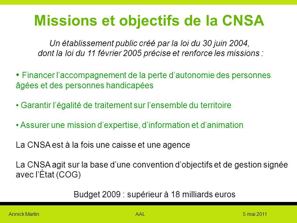 Annick Martin AAL 5 mai 2011 Missions et objectifs de la CNSA Un établissement public créé par la loi du 30 juin 2004, dont la loi du 11 février 2005