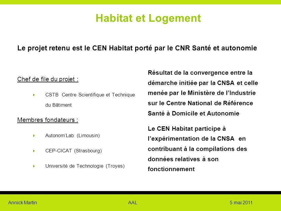 Annick Martin AAL 5 mai 2011 Habitat et Logement Le projet retenu est le CEN Habitat porté par le CNR Santé et autonomie Chef de file du projet :  CS