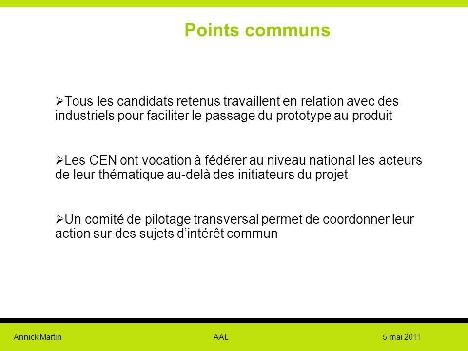 Annick Martin AAL 5 mai 2011 Points communs  Tous les candidats retenus travaillent en relation avec des industriels pour faciliter le passage du pro