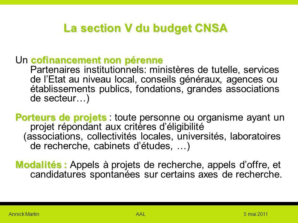 Annick Martin AAL 5 mai 2011 Lasection V du budget CNSA La section V du budget CNSA cofinancementnon pérenne Un cofinancement non pérenne Partenaires