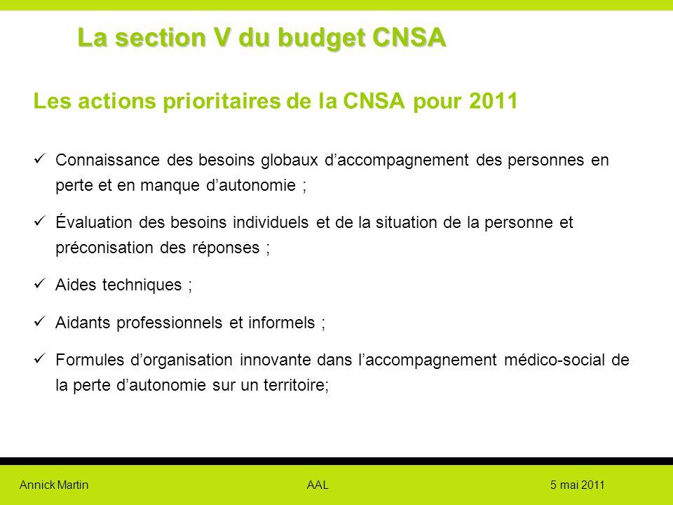 Annick Martin AAL 5 mai 2011 Les actions prioritaires de la CNSA pour 2011 Connaissance des besoins globaux d'accompagnement des personnes en perte et