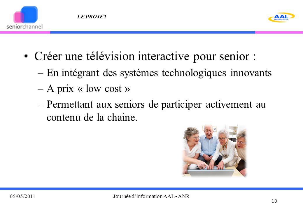 LE PROJET Créer une télévision interactive pour senior : –En intégrant des systèmes technologiques innovants –A prix « low cost » –Permettant aux seniors de participer activement au contenu de la chaine.