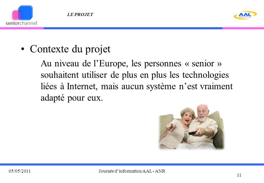 LE PROJET Contexte du projet Au niveau de l'Europe, les personnes « senior » souhaitent utiliser de plus en plus les technologies liées à Internet, mais aucun système n'est vraiment adapté pour eux.