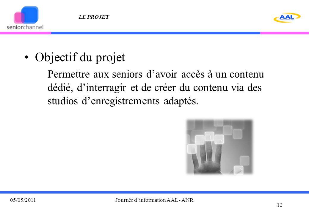 LE PROJET Objectif du projet Permettre aux seniors d'avoir accès à un contenu dédié, d'interragir et de créer du contenu via des studios d'enregistrem