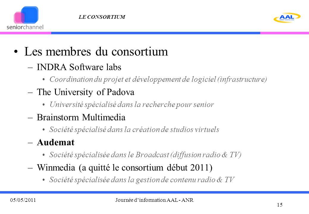 LE CONSORTIUM Les membres du consortium –INDRA Software labs Coordination du projet et développement de logiciel (infrastructure) –The University of P