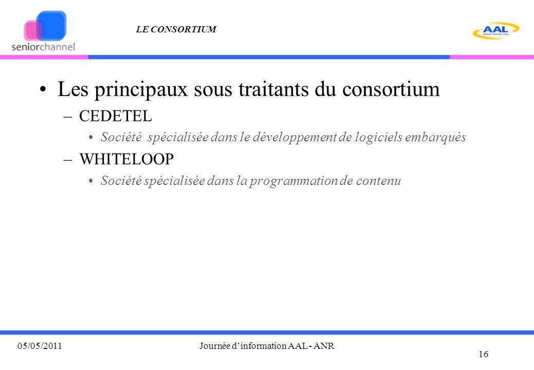 LE CONSORTIUM Les principaux sous traitants du consortium –CEDETEL Société spécialisée dans le développement de logiciels embarqués –WHITELOOP Société