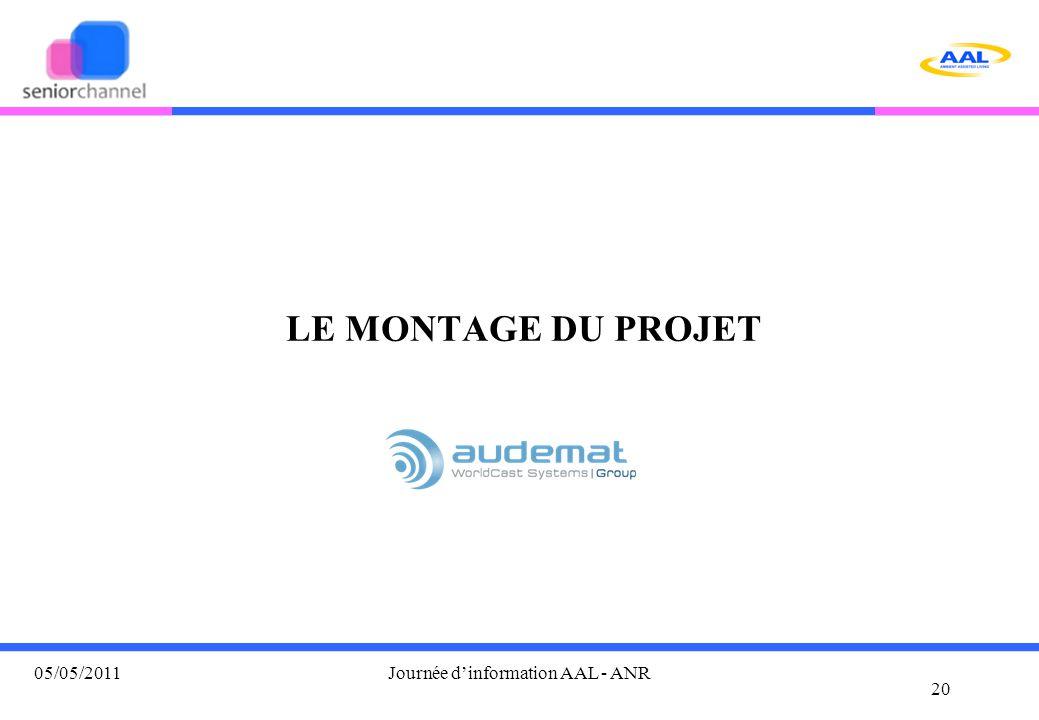 LE MONTAGE DU PROJET 20 05/05/2011Journée d'information AAL - ANR